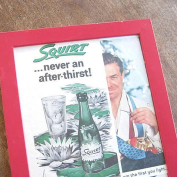 Red Framed Vintage Life Magazine Ads for Squirt Soda Pop & Old Gold Cigarettes; Mad Men/Bar Decor/Midcentury Lounge/Retro Kitchen Wall