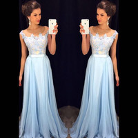 A-line Lace Appliqued Bodice Light Blue Chiffon Skirt Prom Dress APD1628
