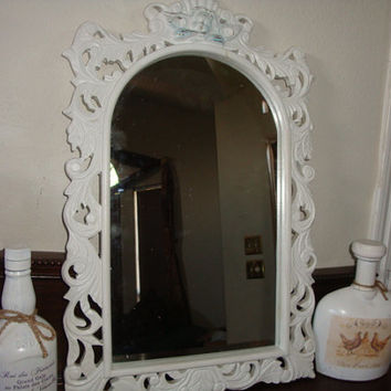 "24"" x 15"" shabby painted FRAMED raphael ANGEL Decorative vanity foyer MIRROR carved wood Wooden wedding nursery Frame"