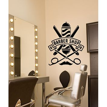 Vinyl Wall Decal Barbershop Beauty Salon Logo Straight Razor Stickers (3277ig)