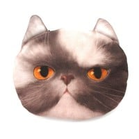 Grey and White Kitty Cat Face Shaped Coin Purse Make Up Bag with Yellow Eyes