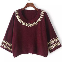 Wine Red Half Sleeve Knit Slit Cropped Sweater