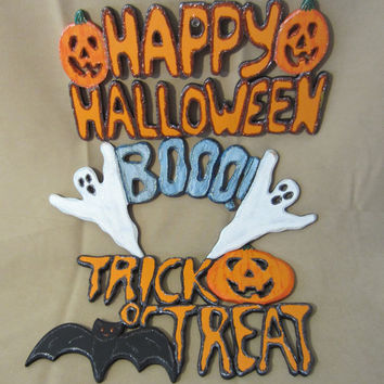Hand-painted Wooden Cut Out Halloween Signs, Handmade, Halloween Decoration, Wall Hanging, Jack O'Lantern, Cute, Spooky, Fun, Ghost, Bat
