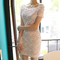 Sexy Lace Collar Sexy Package Hip Skirt