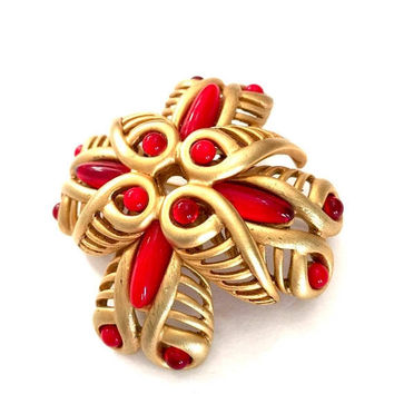 Oscar de la Renta Maltese Cross, Matte Gold, Red Opaque & Translucent Cabs, Modernist Design, Vintage Statement Brooch, Designer Signed