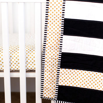 Modern Striped Crib Quilt, Black and White Quilt, Crib Quilt, Modern Baby Quilt, Gold Polka Dot Quilt, Striped Toddler Quilt, Toddler Quilt