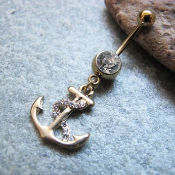 Gold anchor belly button ring , belly button jewelry