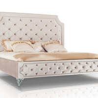 Modrest Leilah Transitional Tufted Beige Fabric Queen Bed VGKNLEILAH-BEIGE