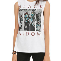 Marvel Black Widow Panels Girls Muscle Top