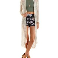 Ivory Open Knit Long Sleeve Duster Cardigan by Charlotte Russe