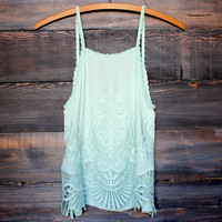 gauze embroidered boho top - pistachio