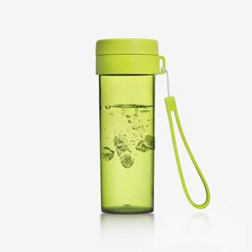 Emoi 16oz Sport Infuser Water Bottle, Tritan Wide Mouth Fruit Tea Infusion Outdoor Drinking Cup, BPA-Free Leak Proof Heat Insulated Flask, Food Grade PP Cap, Portable Strap, Handheld Size.(H1082)