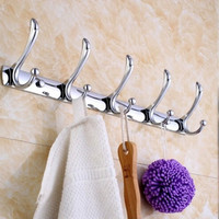 Stainless Steel 5 Hooks Wall Door Bathroom Bedroom Mounted Hanger Holder Hook Coat Hat Cloth Towel Rack High Quality