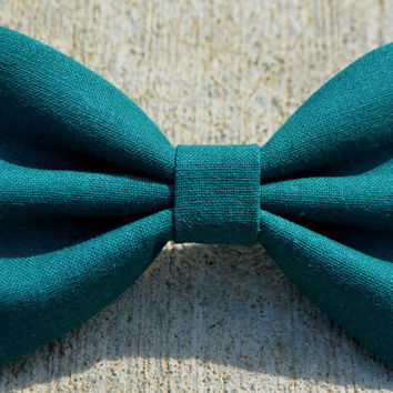 Teal Linen-Look Hair Bow
