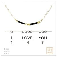 I Love You - Code Friendship Necklace 143 - Black