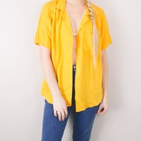 Vintage Yellow Button Up Blouse