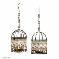 Set of 2 - Black and White Wire Bird Cages Metal Tealight Candle Holder - Wedding Hanging Lanterns - Home Decor