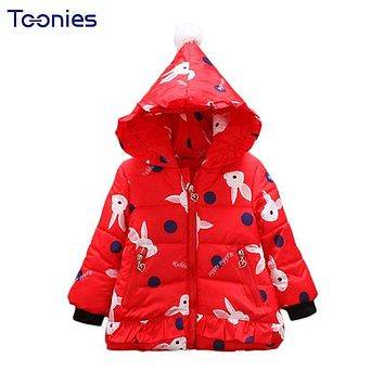 Christmas Baby Down Jackets Winter Toddler Girls Coats Hooded Newbo Parkas Cute Rabbit Princess Infant Costume 2018 Girl Jacket