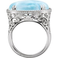 Sterling Silver 20x15mm Larimar Rope & Scroll Design Ring