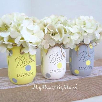 Yellow and Gray Mason Jar Centerpieces, Baby Shower Mason Jars, Mason Jar Decor, Painted Ball Jars, Yellow Polka Dots, Gray Polka Dots