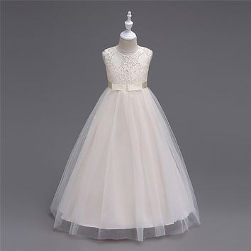 White First Communion Dresses For Girls 2017 Brand Tulle Lace Infant Toddler Princess Flower Girl Dresses for Weddings and Party
