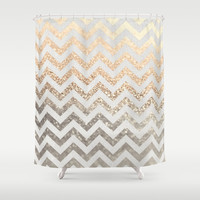 GOLD & SILVER Shower Curtain by Monika Strigel