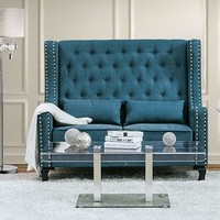 Alicante collection mid-century style high love seat bench with teal fabric upholstery with tufted back