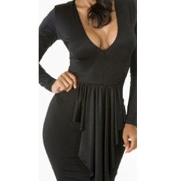 Black Long Sleeve Front Ruffle V Neck Bodycon Midi Dress