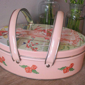 Vintage shabby chic cottage handled Tin .. Little Bo Peep Tin .. Roses bird