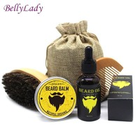 BellyLady Beard Grooming Kit: Men's Mustache Comb and Brush, Beard Oil, Beard Balm and Storage Bag
