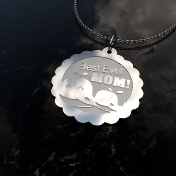 Best mom ever, cute whales sterling silver pendant necklace