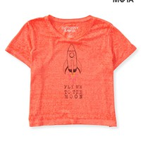 Aeropostale Womens Toon Rocket Crop Graphic T-Shirt - Orange,