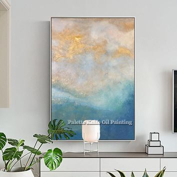 Gold blue Sea wave acrylic abstract print paintings Wall art print on Canvas cuadros decoracion for living room wall decoracion