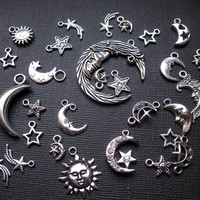 Moon and Stars Charm Pendant Collection in Silver by CharmEmporium