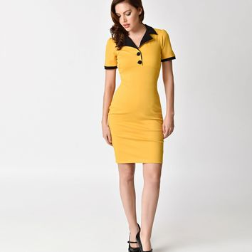Steady 1960s Style Mustard Yellow Short Sleeve Lillian Wiggle Dress