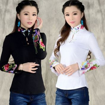 Chinese Style Shirt Women's 2016 Autumn Spring Ethnic Black White Stand Collar Embroidered T Shirt Female Long Sleeve Top Blusa