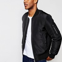 ASOS | ASOS Bomber Jacket With MA1 Pocket In Black at ASOS