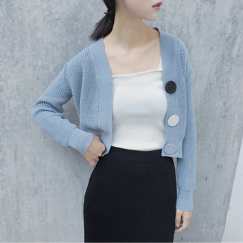 Fashion Single Row Large Buckle Knit Sweater