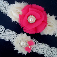 Fast Shipping, Bridal Garter Set, Wedding Garter Set, Ivory Stretch Lace Bridal Garter Set, Flower Garter,Pink Garter,Bright Pink Garter