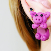 fake gauge plug two part pink Pig Earrings by JEWELRYandPLEASURE