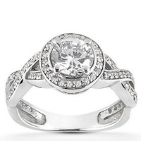 7/8ct Pave Halo Diamond Engagement Infinity Vintage Ring 14K White Gold