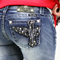 MISS ME LACE WINGED CROSS BOOTCUT JEANS
