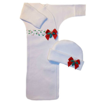 Baby Girls' Christmas Holly Bunting Gown and Cap Set