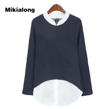 Mikialong 2017 Autumn Long Sleeve Oversized Hoodies for Women Fake Two Piece Harajuku Sweatshirt Formal Stand Collar Jumpers