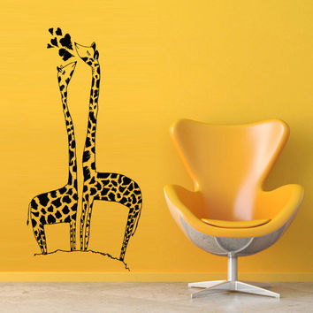 Wall decal decor decals art sticker giraffe animal cheerful funny cartoon hero heart nursery love heart couple (m403)
