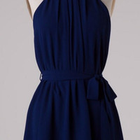 Pleated Halter Dress - Navy