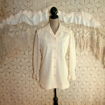 70s Lace Blouse Vintage Women Shirt Ivory Cream Long Sleeve Top Button Up Pointed Collar Western 1970s Clothing Sodi Medium Womens Clothing