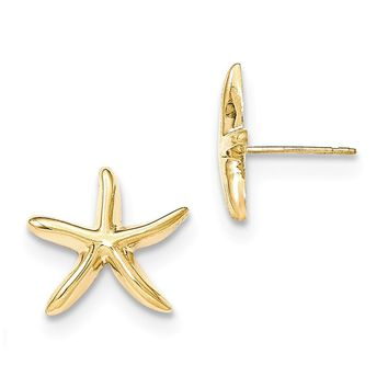 14k Yellow Gold Polished Starfish Post Earrings