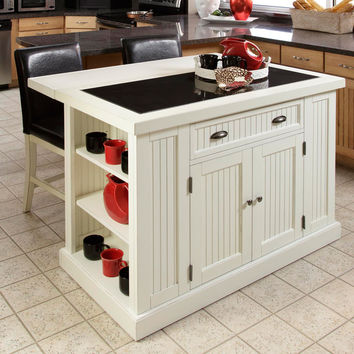 Nantucket Distressed White Finish Kitchen Island with Two Bar Stools | Overstock.com Shopping - The Best Deals on Kitchen Islands