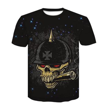 New tshirt skull men 3d print Military helmet Design Short Sleeve t shirt space Fashion Casual funny t shirts Tops Punk Cool Tee
